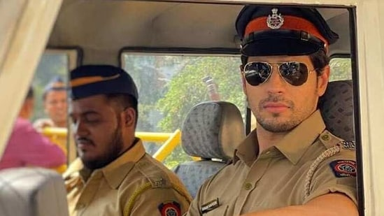 Sidharth Malhotra turns a police officer on sets of Thank God, jokes On my way to say hi to Mr. Rohit Shetty | Hindustan Times
