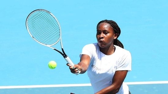 Tennis player Coco Gauff of the United States is seen training at Melbourne Park as players undergo mandatory quarantine in advance of the Australian Open in Melbourne, Australia, January 21, 2021. REUTERS/Kelly Defina(REUTERS)