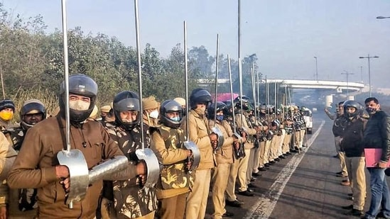 A picture of the policemen holding the improvised metal baton was widely circulated on social media on Monday.(ANI)