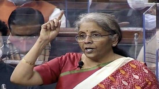 Union Finance Minister Nirmala Sitharaman presents the Union Budget 2021-22 in Lok Sabha in New Delhi on Monday. (ANI)