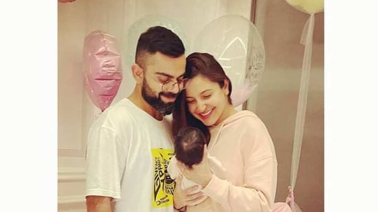 Virat Kohli with Anushka Sharma and daughter Vanika.
