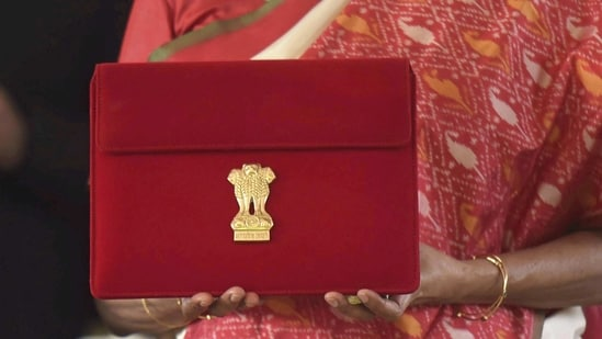 Finance Minister Nirmala Sitharaman (unseen) holds a folder case containing the Union Budget 2021-22, during the Budget Session of the Parliament, at Parliament House in New Delhi, Monday, Feb. 1, 2021. (PTI)