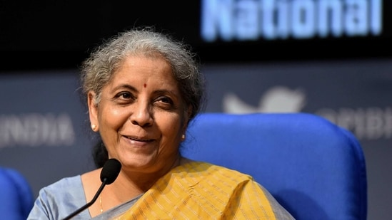 Finance minister Nirmala Sitharaman addresses the post-budget press conference at National Media Centre in New Delhi, (PTI)