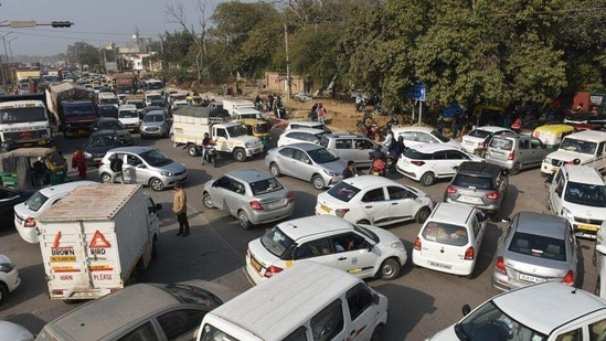 """""""This will help in encouraging fuel efficient, environment friendly vehicles, thereby reducing vehicular pollution and oil import bill.,"""" FM Nirmala Sitharaman said in her budget speech.(HT Photo)"""
