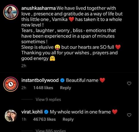 Virat Kohli reacted on the image.(Instagram/Screenshot)