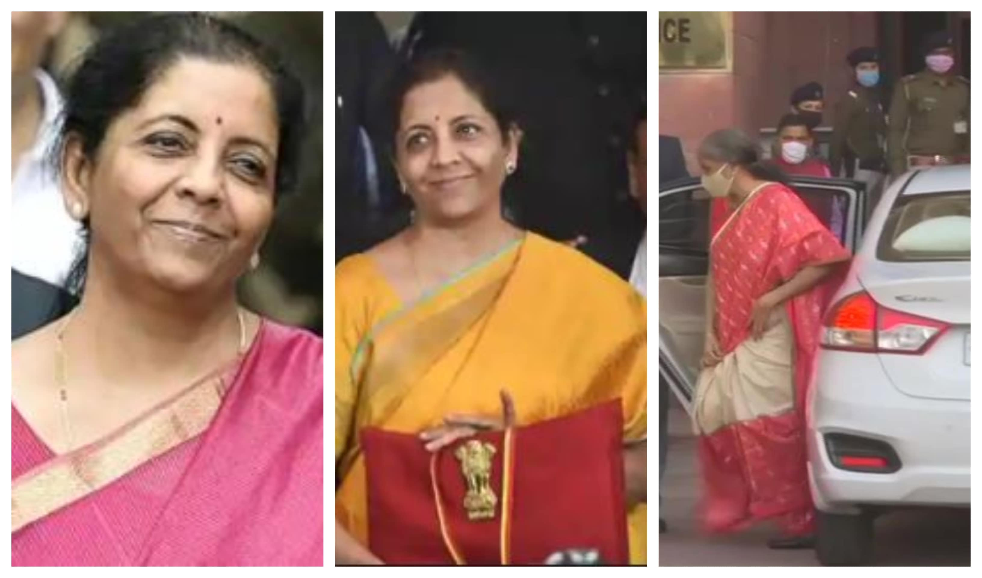 Finance minister Nirmala Sitharaman on Budget day in 2019, 2020 and 2021, (From left to right)