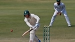 South Africa's Rassie van der Dussen plays a shot while during the third day of the first cricket test match between Pakistan and South Africa in Karachi(AP)