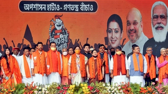 The Bharatiya Janata Party is planning to go on a course correction drive ahead of the crucial assembly polls in West Bengal. (PTI)