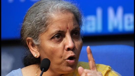 Finance minister Nirmala Sitharaman speaks during a press conference in New Delhi, on February 1, 2021. (Bloomberg)