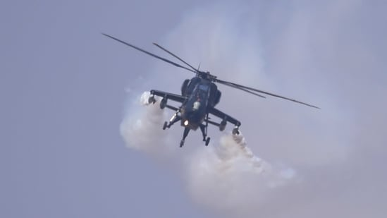 Indian Air Force's light combat helicopter 'Rudra' performs during rehearsals for the Aero India 2021, at the Yelahanka air base in Bengaluru.(PTI)