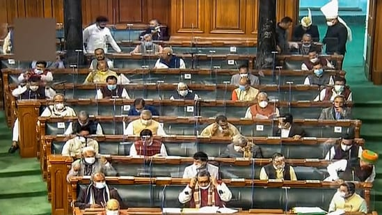 Union ministers and members in the Lok Sabha during the Budget Session of Parliament, in New Delhi.(PTI)