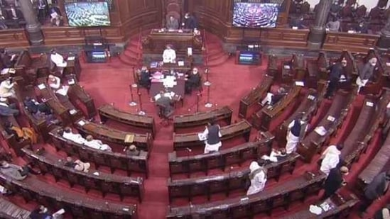 Rajya Sabha was adjourned shortly after the session began on Tuesday morning.(ANI Photo)
