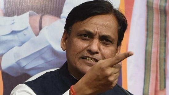 Union minister of state for the ministry of home affairs Nityanand Rai seen addressing a press conference in Delhi in this file picture from November 2020.(Santosh Kumar/Hindustan Times)