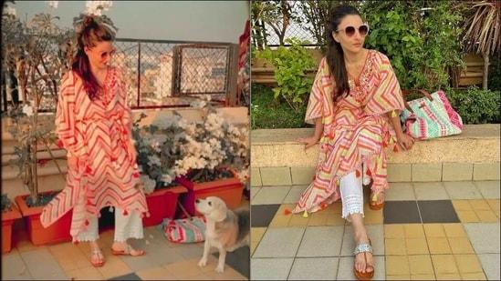 Soha Ali Khan takes kaftan game a notch higher with neon colours, amps boho vibe(Instagram/sakpataudi)