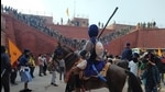 Nihang Sikhs at Red Fort during the farmers' tractor rally on Republic Day, in New Delhi. (Sanjeev Verma/HT photo)