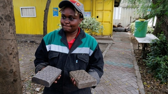 Nzambi Matee, founder of Gjenge Makers, a social enterprise that recycles and up-cycles waste plastic into construction products.(REUTERS)