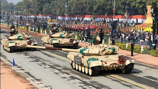 Soldiers on T-90 (Bhisma) tanks march along Rajpath, Republic Day Parade, New Delhi, January 26, 2021 (AFP)