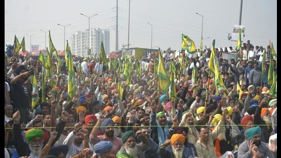 Protesters at Ghazipur, in New Delhi on Tuesday. (Sakib Ali /Hindustan Times)