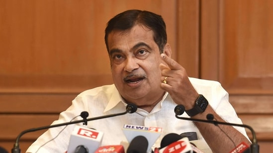 Union Minister for Road Transport & Highways and Micro, Small and Medium Enterprises Nitin Gadkari seen interacting with the media. (PTI)