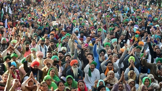 Farmers say the laws will allow corporate giants to take control over a vast, antiquated agricultural sector that supports half of all Indians.(PTI)