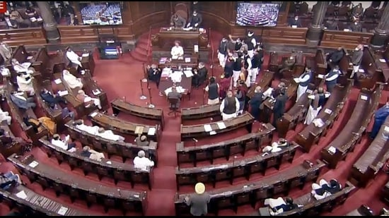 Opposition leaders shout slogans as they stage a protest in Rajya Sabha on Tuesday. (ANI)