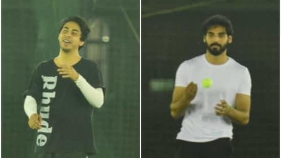 Ahan Shetty and Aryan Khan play a game of cricket. (Varinder Chawla)