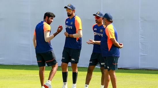 Indian cricketers Jasprit Bumrah, Ishant Sharma and Hardik Pandya during a training session at MA Chidambaram Stadium, in Chennai, Wednesday, Feb. 3, 2021.(PTI)