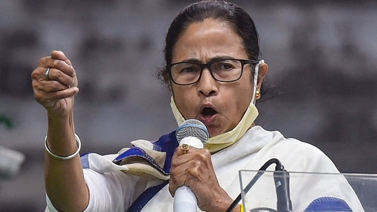 West Bengal chief minister Mamata Banerjee in an addresses in Kolkata. (PTI)