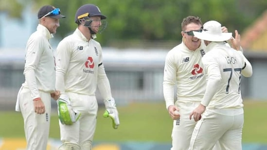 Dom Bess and Jack Leach (Extreme right) celebrate(SLC)
