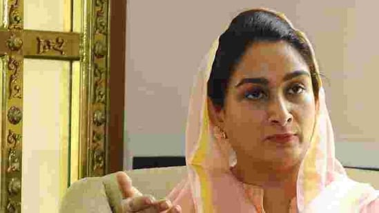 Harsimrat Kaur Badal alleged that the state government took no prior initiatives to deal with the flood situation.(HT Photo)