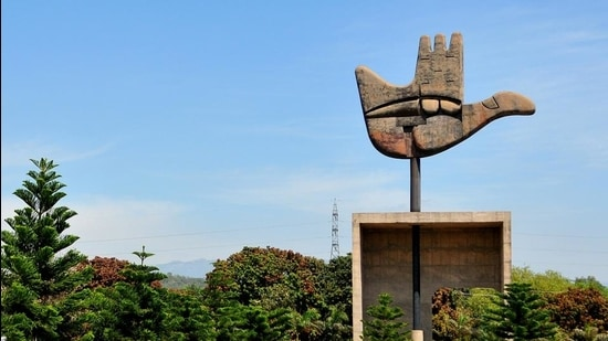 view of open hand in Chandigarh, . File Photo