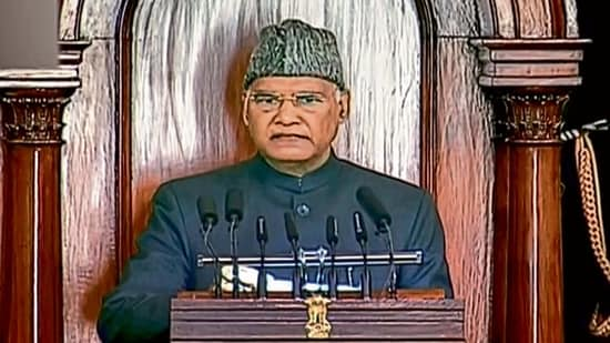President Ram Nath Kovind's address to the joint sitting of both Houses of Parliament on Friday met with a boycott of 18 Opposition parties who supported the farmer's cause.pti(MINT_PRINT)