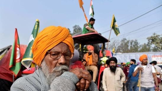 Farmers protest against farm laws at Singhu Border in New Delhi, (ANI Photo)