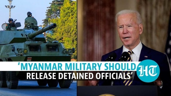 Biden called on the military in Myanmar to relinquish the power it has seized in a coup