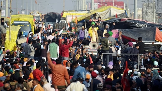The protest sites are under multi-layered barricading with barbed wiring on top, concrete walls, trenches, nails boards drilled onto roads, and netting to stop pelted stones. (Representative Image)(ANI)