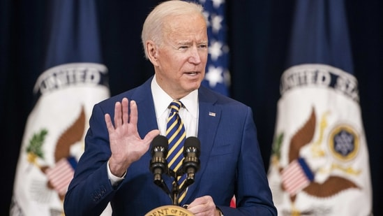 US President Joe Biden speaks at the State Department in Washington, DC. (Bloomberg File Photo )