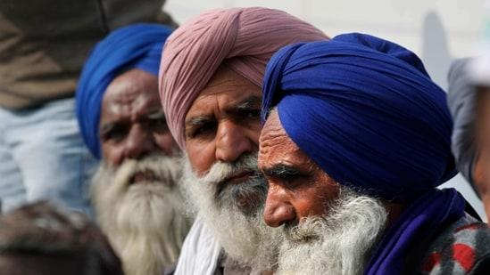 Farmers protesting at Delhi-Uttar Pradesh border, in New Delhi, India.