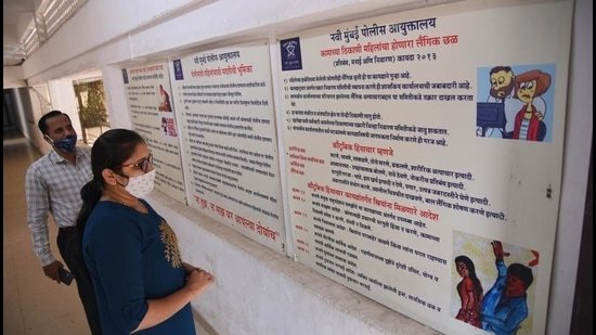 Awareness board at women redressal cell at the Navi Mumbai Police Commissionerate, CBD Belapur on Saturday. (Bachchan Kumar/HT photo)