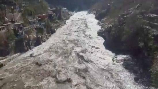 The water level in the Dhauliganga river rose suddenly following an avalanche near a power project at Raini village in Tapovan area of Chamoli district.(ANI Photo)
