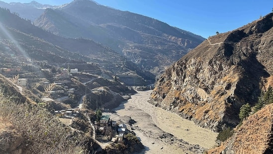 This general view shows state-run NTPC hydropower project site damaged after a broken glacier caused a major river surge that swept away bridges and roads, near Joshimath in Chamoli district of Uttarakhand.(AFP)