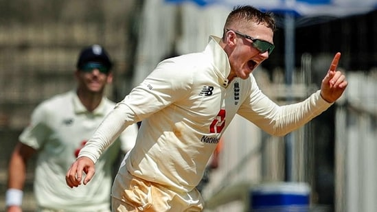 England bowler Dom Bess celebrates the wicket of Indian captain Virat Kohli during the 3rd day of first cricket test match between India and England, at MA Chidambaram Stadium.(PTI)
