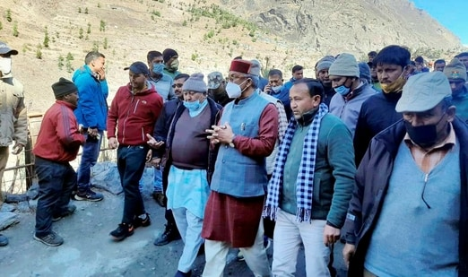 Uttarakhand Chief Minister Trivendra Singh Rawat inspects flood hit areas, after a glacier broke off in Joshimath in Uttarakhand's Chamoli district causing a massive flood in the Dhauli Ganga river. (PTI Photo)