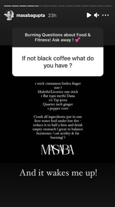 Masaba shares her morning drink recipe(Instagram story/ masabagupta)