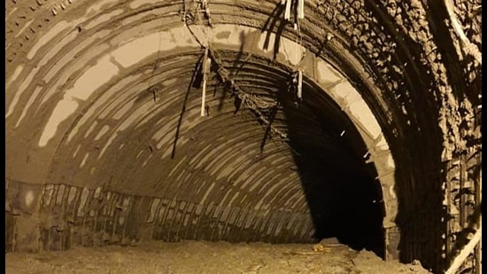 Muck-filled tunnel at Tapovan dam site in Chamoli where rescue operations are underway. (HT Photo)
