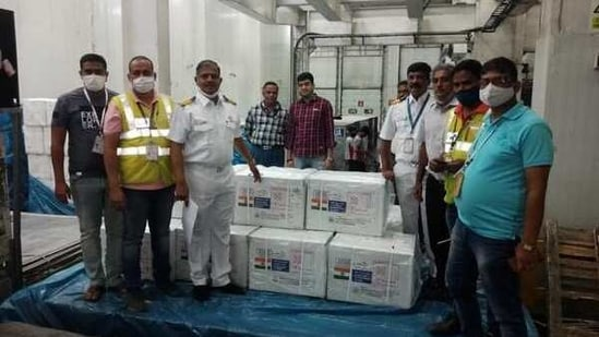 Covid-19 vaccines in Mumbai before departure to Barbados, Dominica.(ANI)