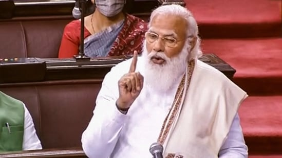 Prime Minister Narendra Modi speaking in the Rajya Sabha during ongoing Budget Session of Parliament, in New Delhi, on Monday(PTI Photo )