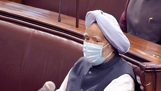 Congress MP and former prime minister Manmohan Singh in the Rajya Sabha as PM Modi quoted his view on farm reforms, (PTI)