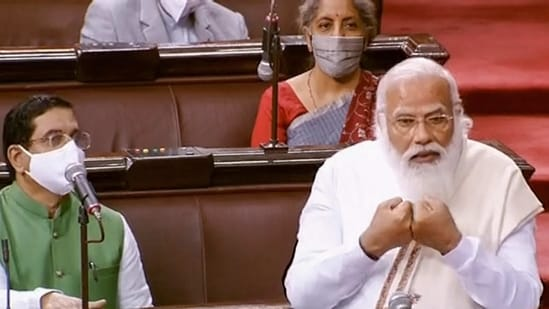 Prime Minister Narendra Modi speaks in the Rajya Sabha during ongoing Budget Session of Parliament.(PTI)