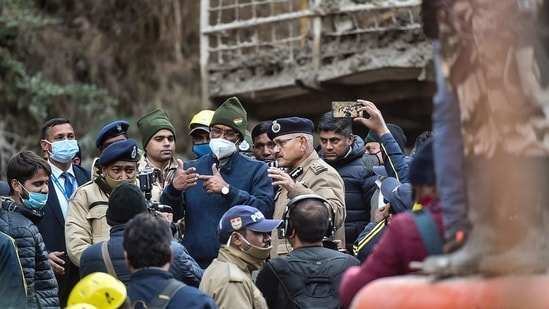 """""""According to the scientists, the area where the calamity struck is not prone to avalanches and apparently it was not caused by a glacier burst as initial reports suggested,"""" said CM Trivendra Singh Rawat (PTI Photo/Arun Sharma)(PTI)"""