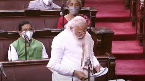 Prime Minister Narendra Modi replying to motion of thanks on President's address in the Rajya Sabha.